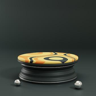 3d teruggevende cirkelvoetstuk met geel ornament en zwarte achtergrond