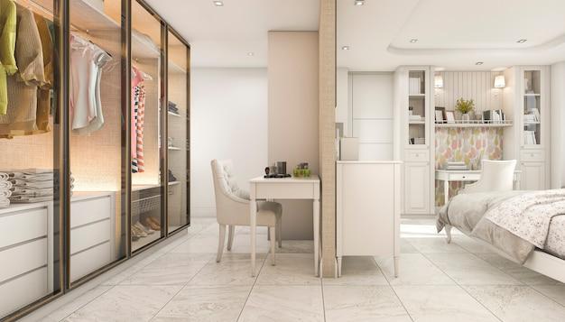 3d teruggevende comfortabele pastelkleur skandinavische kindslaapkamer met garderobe
