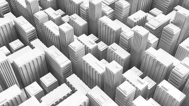 3d teruggevende gebouwen voor bouwachtergrond