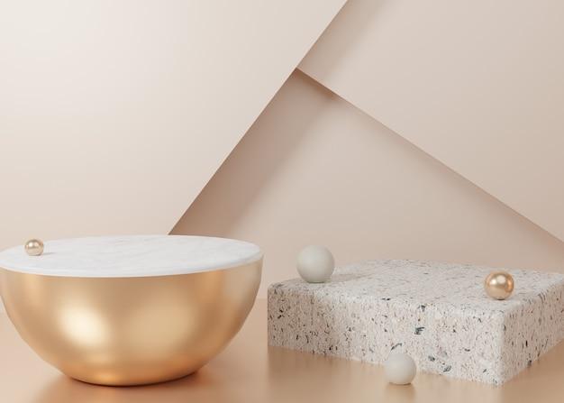 3d teruggevende gouden het producttribune van het pastelkleurvertoning op achtergrond. abstracte minimale geometrie. premium afbeelding