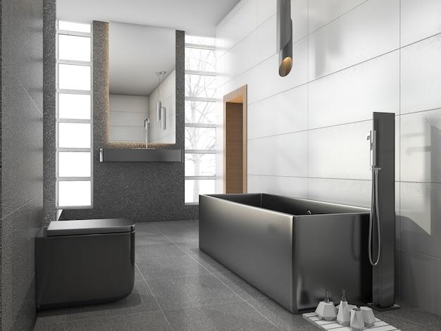 3d teruggevende grijze roestvrije metaalbadkamers met witte tegel en steentegel