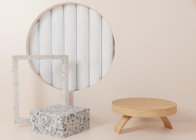 3d teruggevende houten marmeren het producttribune van het vertoningspodium op achtergrond. abstracte minimale geometrie. premium afbeelding