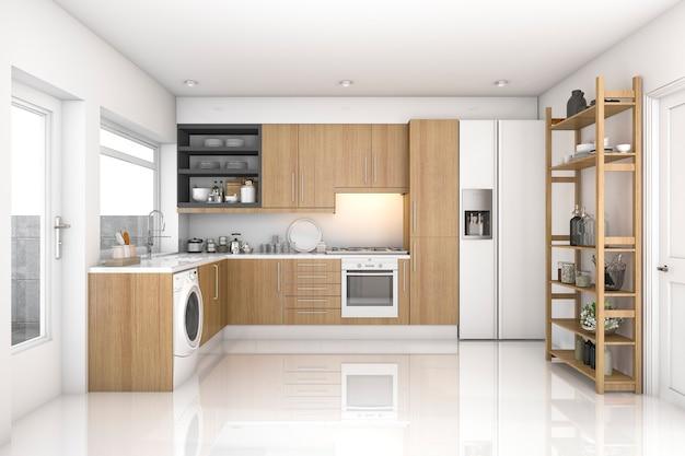 3d teruggevende houten moderne wasserijruimte en keuken