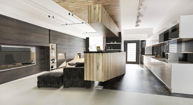 3d teruggevende houten moderne woonkamer en eetkamer