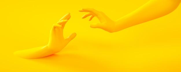 3d teruggevende illustratie van gele handen. menselijke lichaamsdelen.