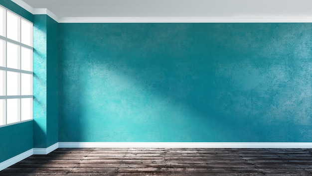 3d teruggevende illustratie van grote moderne lege ruimtehoek met blauwe pleistermuur, ruwe houten vloer en venster. ondergrondse showroom. ochtendzon.
