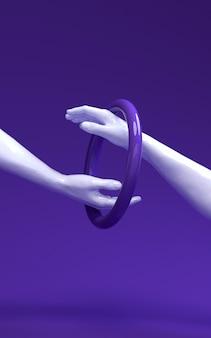 3d teruggevende illustratie van twee handen het verschillende huidkleuren raken.