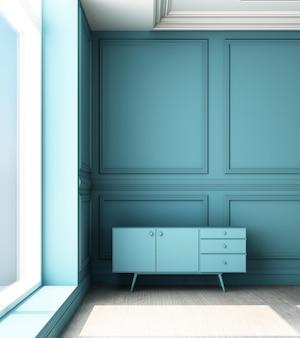 3d teruggevende illustratie van woonkamer met het blauwe paneel van de luxe klassieke muur en laag kabinet