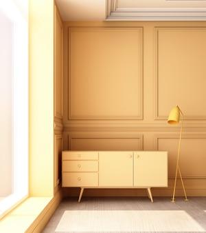 3d teruggevende illustratie van woonkamer met het gele paneel van de luxe klassieke muur en laag kabinet