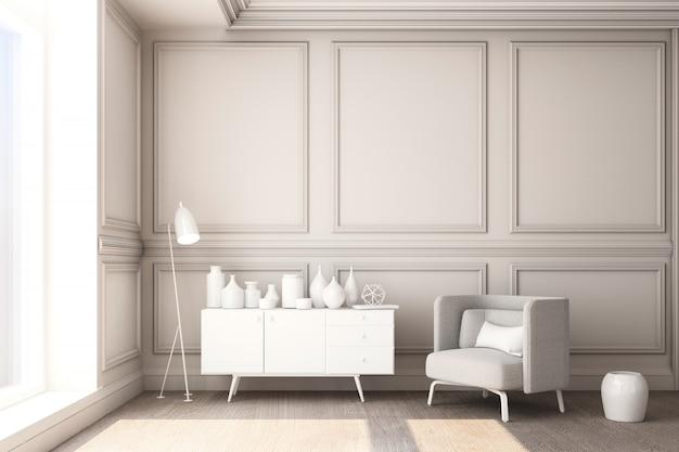 3d teruggevende illustratie van woonkamer met paneel van de luxe het witte klassieke muur en wit meubilair