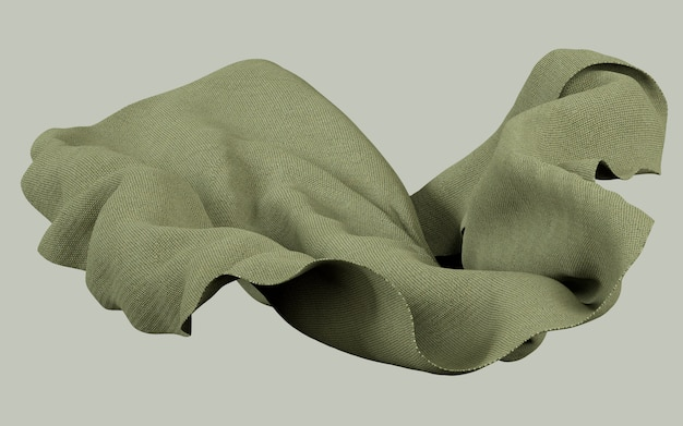 3d teruggevende illustratie van zacht doek aardachtig groen materiaal op vlakke achtergrond