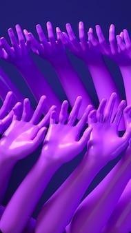 3d teruggevende illustratiebanner met handen