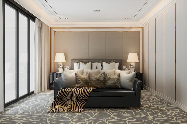 3d teruggevende klassieke mooie luxeslaapkamersuite in hotel met tv