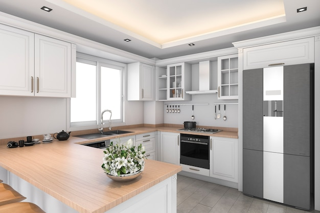 3d teruggevende klassieke ontwerp witte keuken en eetkamer