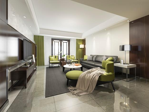 3d teruggevende luxe en moderne groene woonkamer met bank