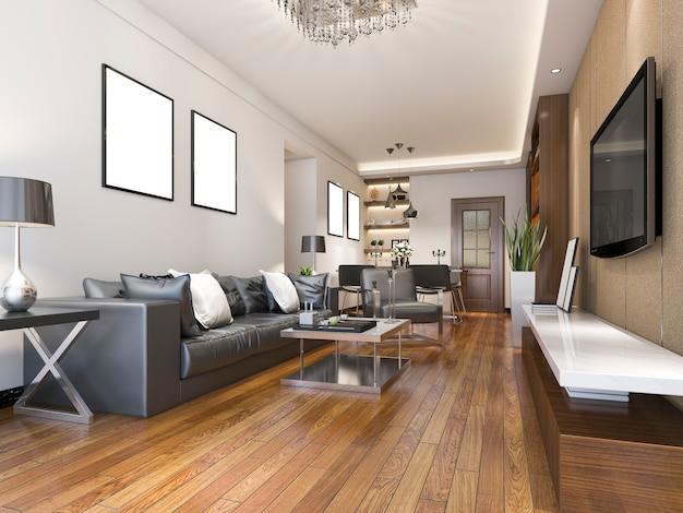 3d teruggevende luxe en moderne woonkamer dichtbij keuken