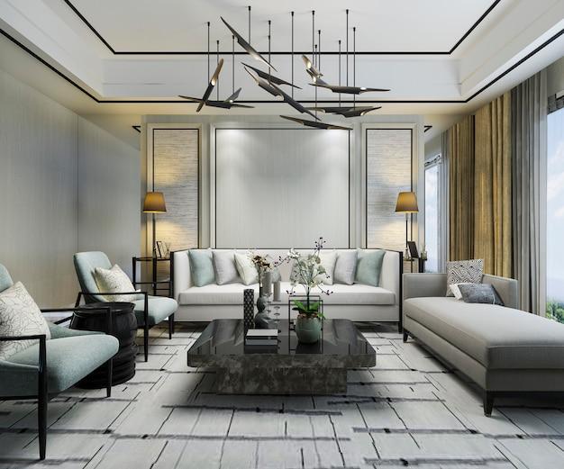 3d teruggevende luxe klassieke muur in woonkamer met bank en kroonluchter