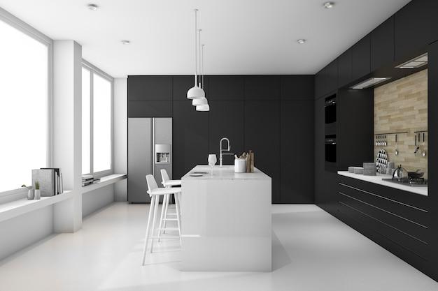 3d teruggevende minimale zwart-witte moderne keuken