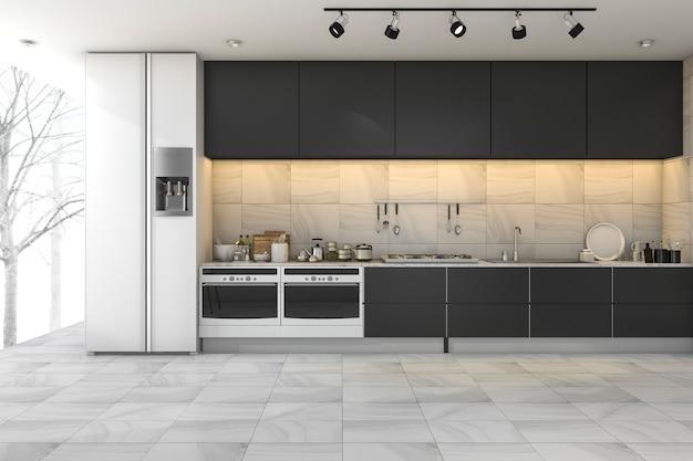 3d teruggevende minimale zwarte keuken in de winter