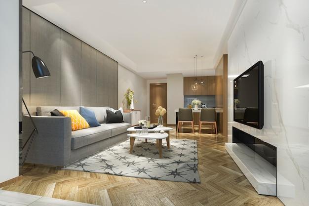 3d teruggevende moderne eetkamer en keuken met woonkamer met luxedecor