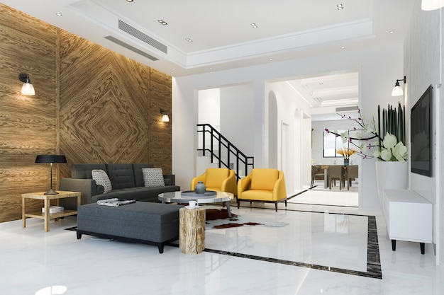 3d teruggevende moderne eetkamer en woonkamer en gele bank dichtbij keuken met luxe klassiek decor