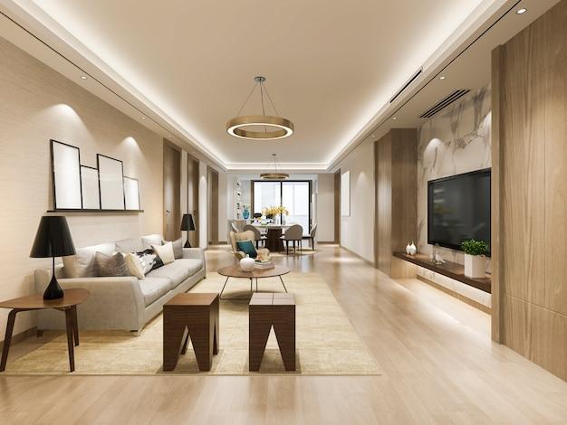 3d teruggevende moderne eetkamer en woonkamer met luxedecor