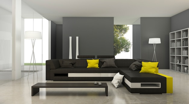 3d teruggevende moderne gele en zwarte stoffenbank in heldere woonkamer