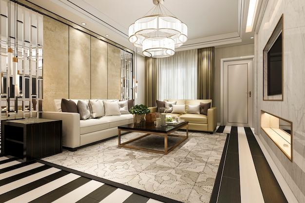 3d teruggevende moderne klassieke woonkamer met luxedecor en streepvloer