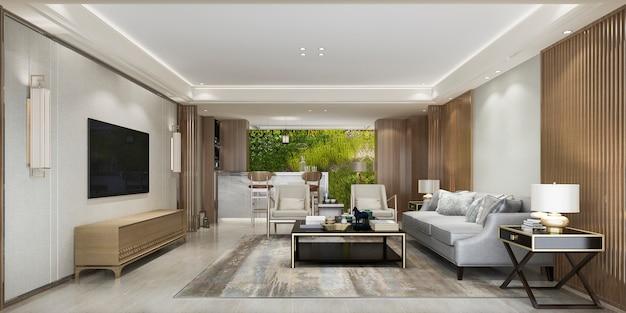 3d teruggevende moderne woonkamer met keuken met het groene decor van de muurinstallatie