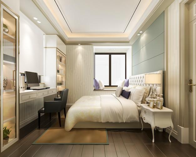 3d teruggevende mooie klassieke reeks van de luxeslaapkamer in hotel met tv en werkende lijst en boekenrek europese stijl