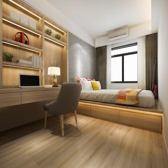 3d teruggevende mooie reeks van de luxeslaapkamer in hotel met tv en werkende lijst