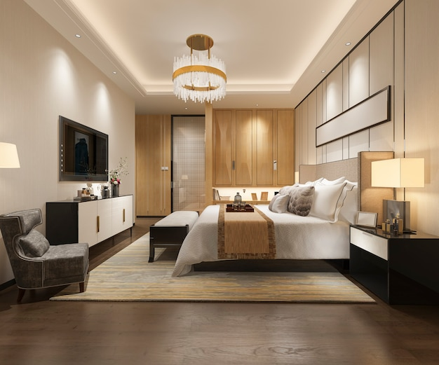 3d teruggevende reeks van de luxe moderne slaapkamer in hotel met garderobe en inloopkast