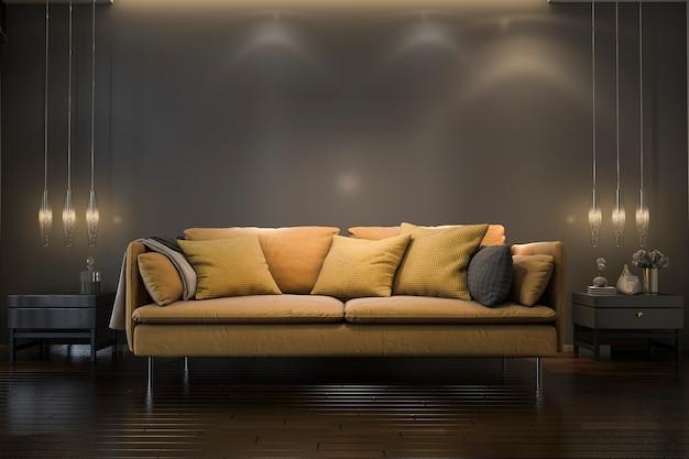 3d teruggevende retro luxe gele zachte bank in minimale zwarte woonkamer met lamp