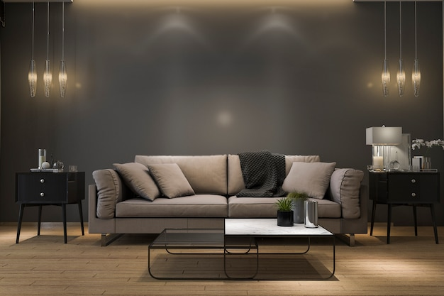 3d teruggevende retro luxebank in minimale zwarte woonkamer met lamp