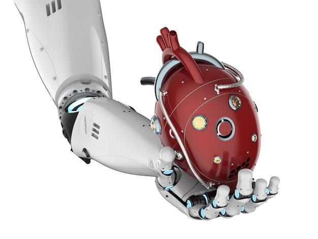 3d teruggevende robothand die rood robotachtig hart houdt dat op wit wordt geïsoleerd