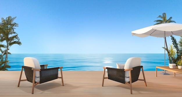 3d teruggevende uitstekende strandleunstoel op houten terras dichtbij overzees in de zomer met paraplu