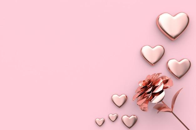 3d teruggevende valentijnskaartconcepthart en bloem roze achtergrond