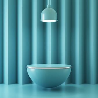 3d teruggevende voetstukscène voor productvertoning met lamp en abstracte achtergrond