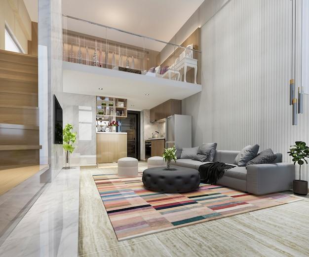 3d teruggevende witte houten woonkamer dichtbij upstair slaapkamer