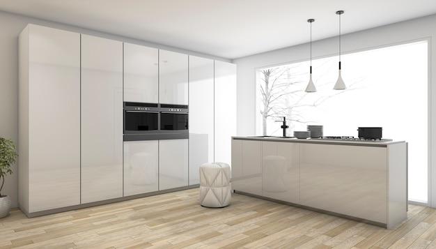 3d teruggevende witte minimale keuken in de winter