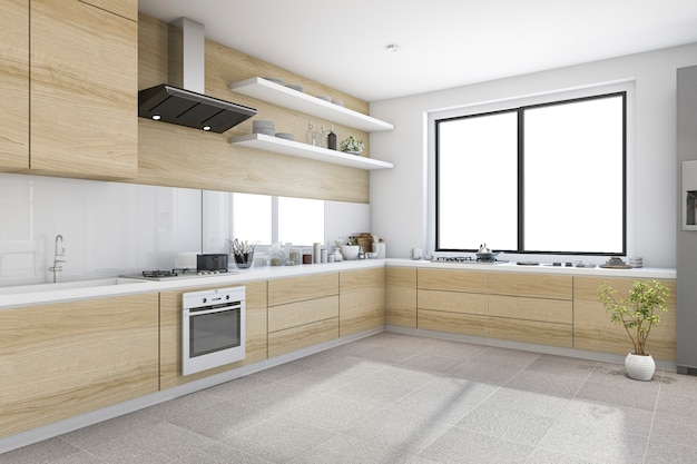 3d teruggevende witte minimale keuken met houten ingebouwde decoratie