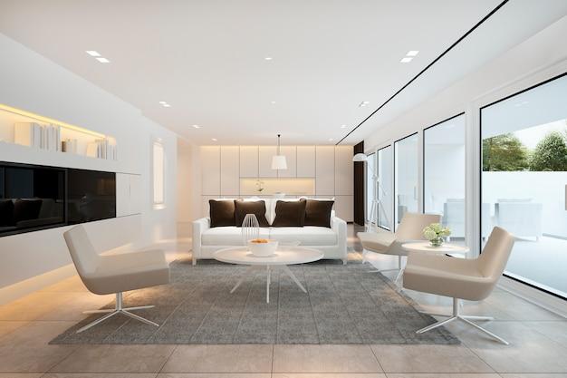 3d teruggevende witte moderne woonkamer dichtbij keuken en buitenterras