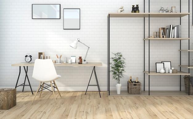 3d teruggevende witte uitstekende werkruimte met aardige plank