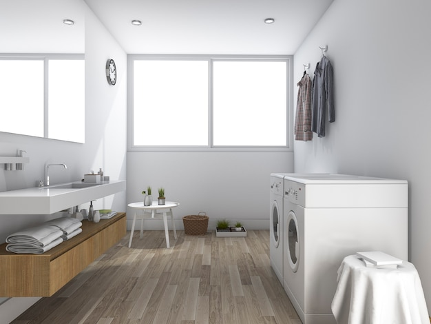 3d teruggevende witte wasserijruimte met minimaal ontwerp