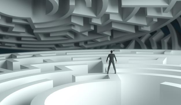 3d teruggevende zakenman die zich over een labyrint bevindt