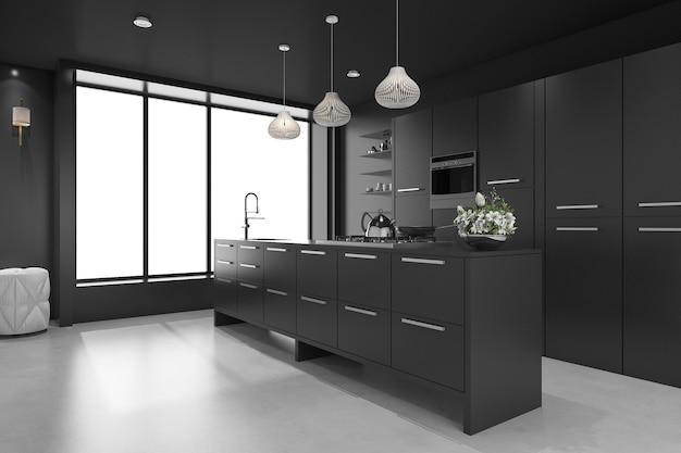 3d teruggevende zwarte moderne luxekeuken en eetkamer