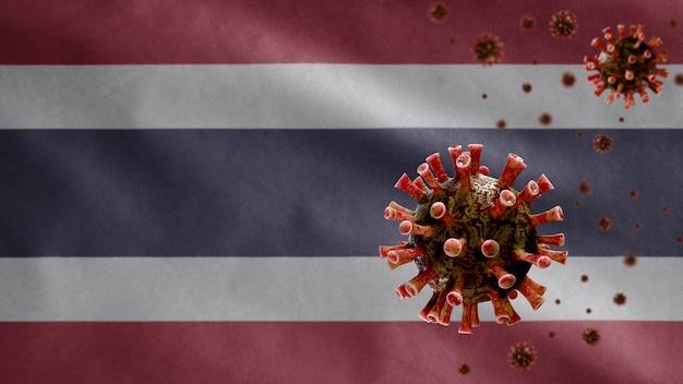3d, thaise vlag zwaait met uitbraak van coronavirus die het ademhalingssysteem infecteert als gevaarlijke griep. influenza-type covid 19-virus met nationaal thailand-sjabloon dat op de achtergrond blaast