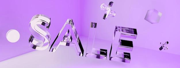 3d transparant glas neon verkoop inscriptie en geometrische vormen in de hoek.