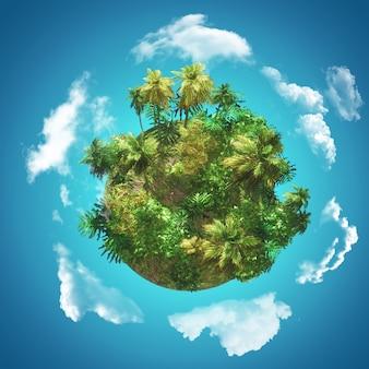3d tropische achtergrond met handschoen van palmbomen op blauwe hemel met cirkelende wolken