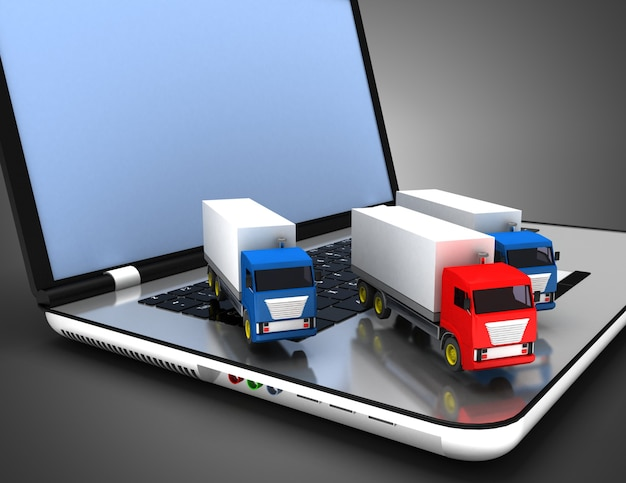 3d truck transport leider concept. 3d-afbeelding